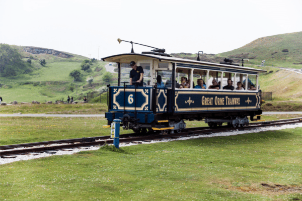 A tram on llandudno mountain tram way